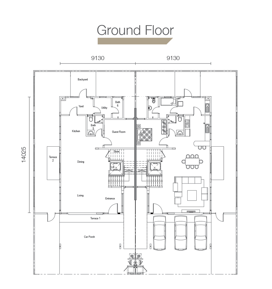 Sierra Hijauan - Type SD3 - Ground Floor Layout Plan