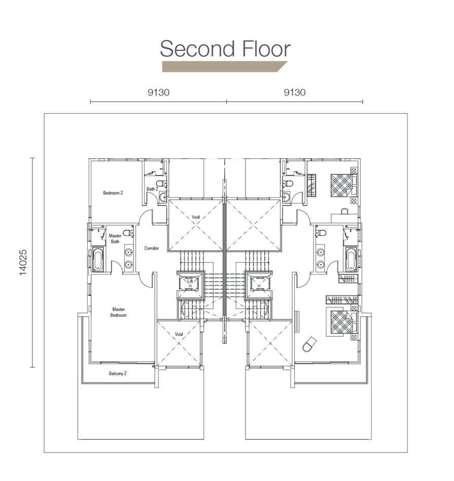 Sierra Hijauan - Type SD3 - Second Floor Layout Plan